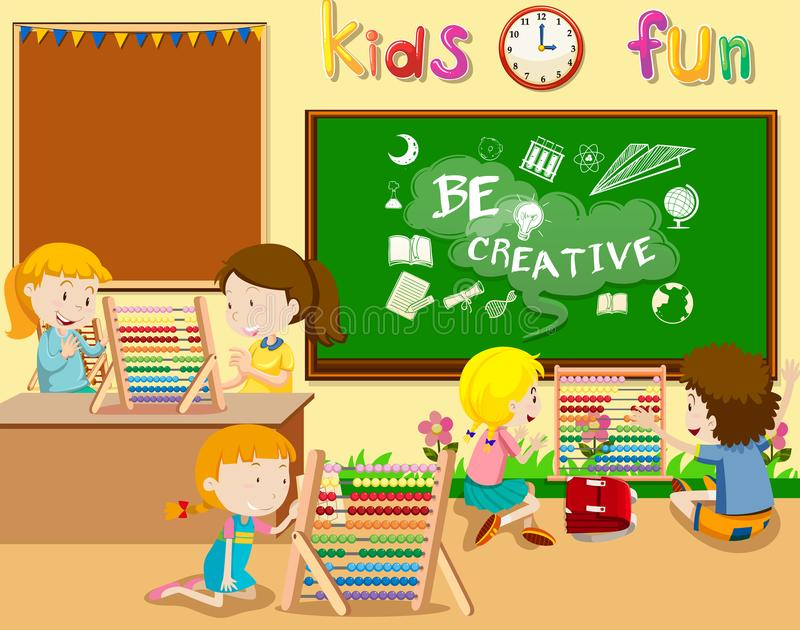 Students Playing with Abacus. Illustration royalty free illustration