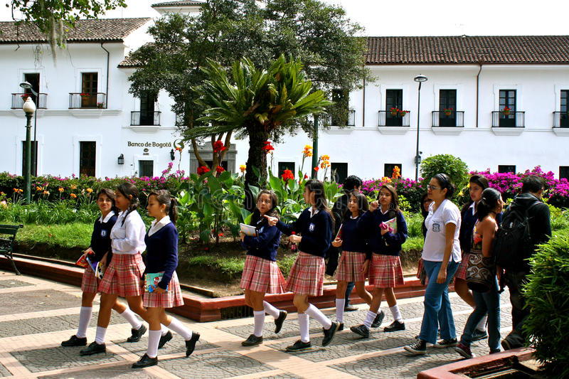 Students, Popayán, Colombia. Students in uniform, city park of Popayán, Colombia royalty free stock images
