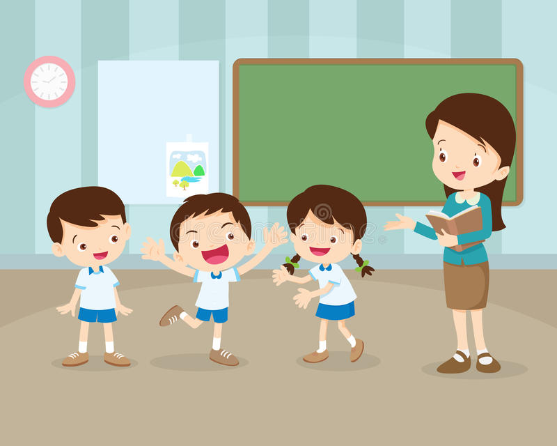 Students presenting in front of classroom vector illustration