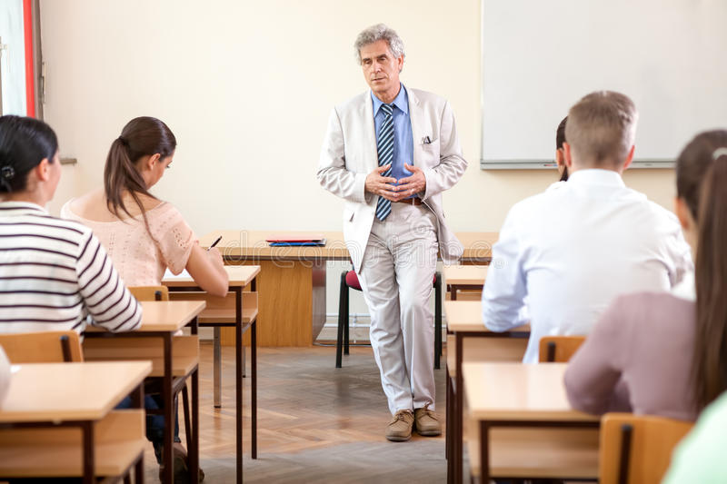 Students with professor royalty free stock image