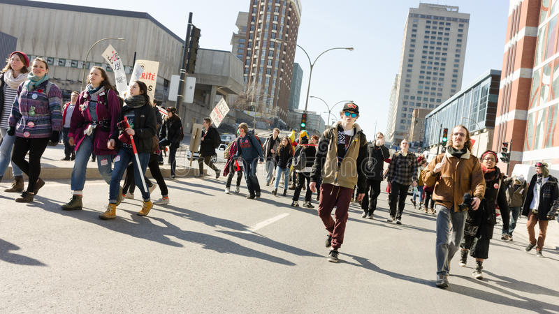 Students protest on Berry and Ontario streets in Montreal, Quebec royalty free stock photography
