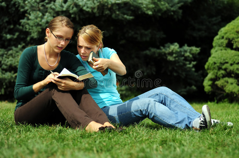 Students Reading. Student Reading in a public park stock photos