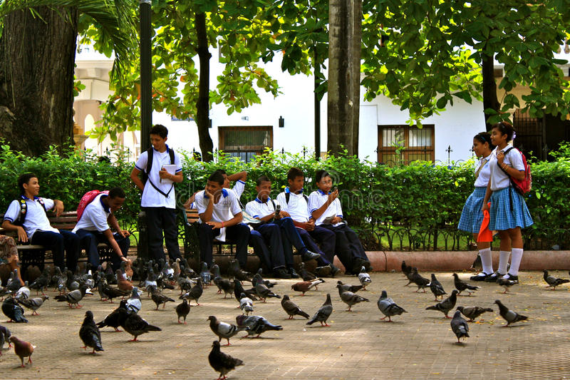 Students during recreation. Colombia stock image
