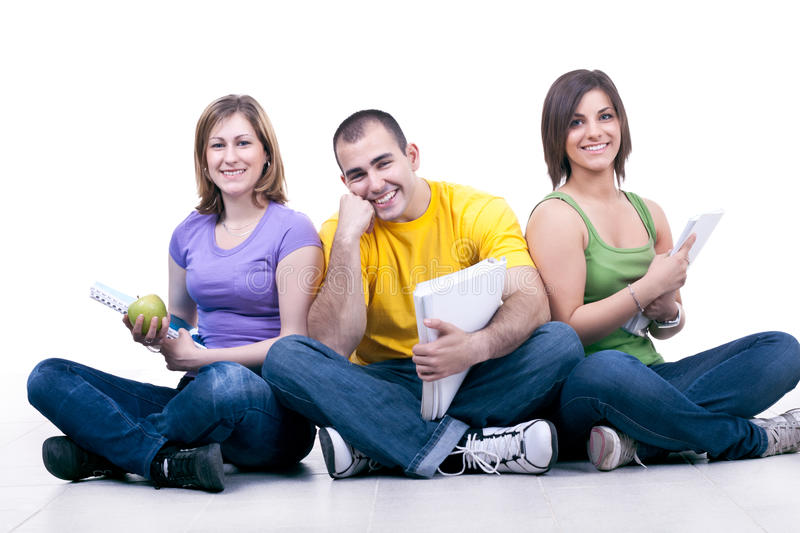 Students relaxing on school break royalty free stock photography
