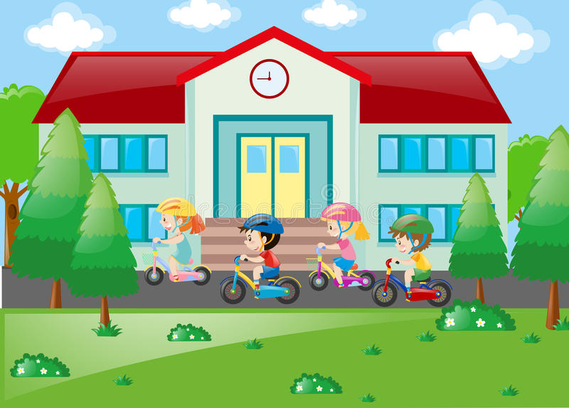 Students riding bicycle to school royalty free illustration