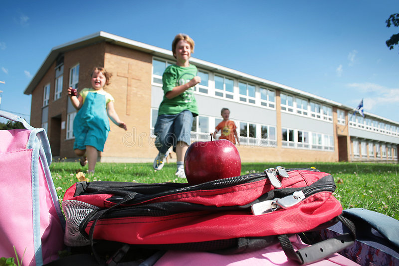 Download Students Running To School Bag Stock Photo - Image: 2980434
