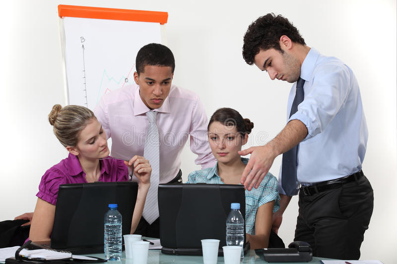 Students in sales training stock photo