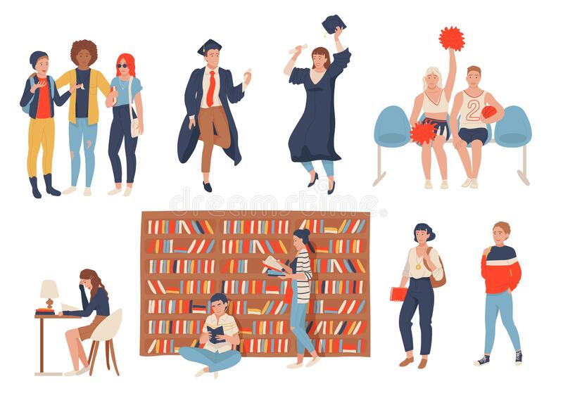 Students in school, college or university, set of cartoon characters, vector illustration. Hand drawn people studying in college, reading books in library royalty free illustration