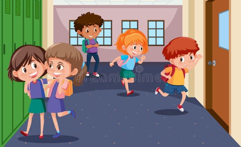 Students at the school hallway royalty free illustration