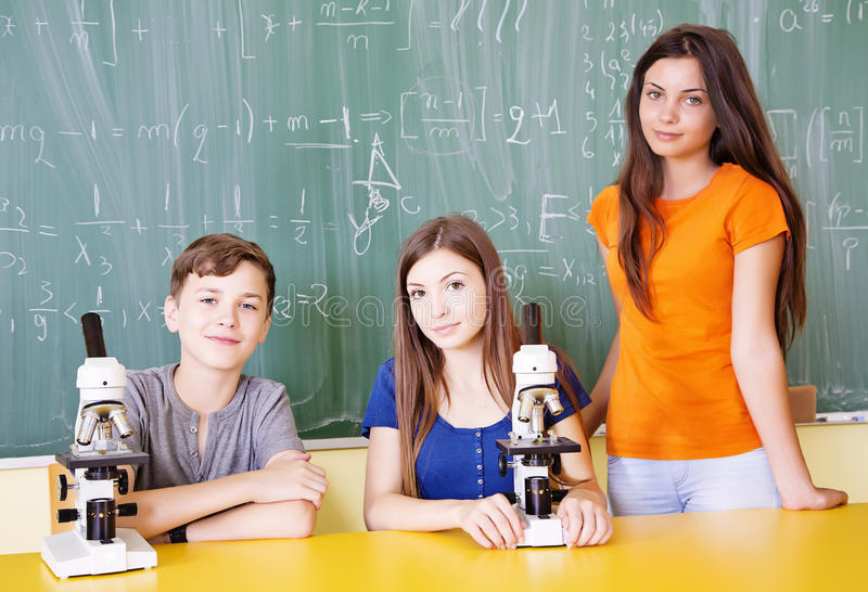 Download Students in science class stock photo. Image of beaker - 33175444