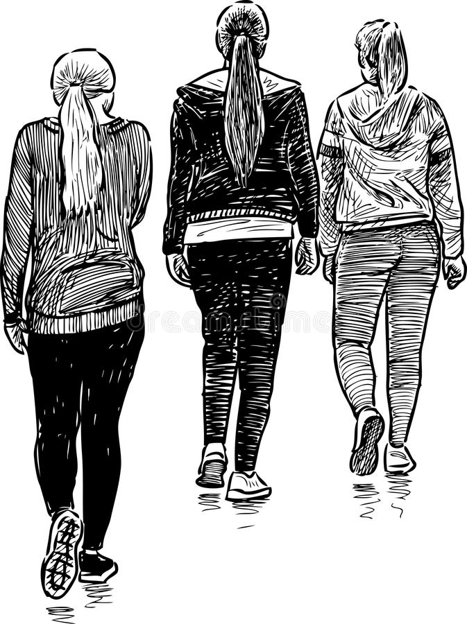 Students in the sports employment. Vector drawing of the walking female students royalty free illustration