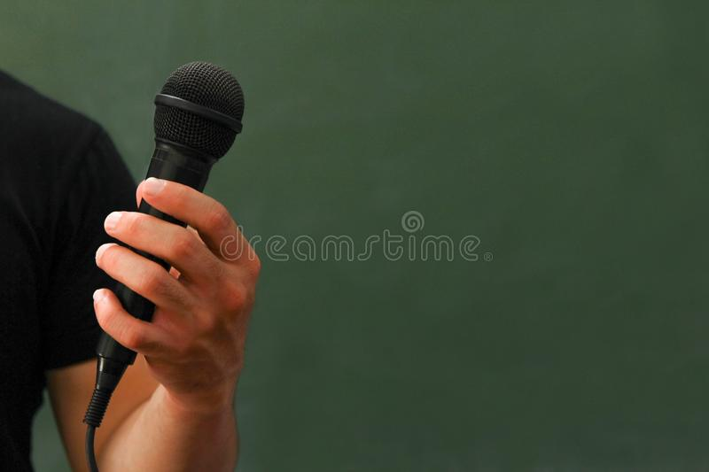 Students stand by to talk and talk about their education and learning, presenting online teaching media projects. Via the Internet royalty free stock images