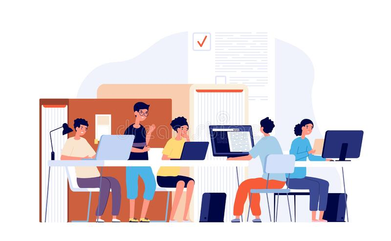 Students study at desk. Young teens studying with laptop computer, teamwork college school. Pensive guys prepare. Examination vector. Illustration student study royalty free illustration