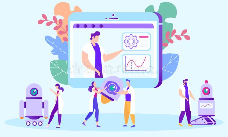 Students Studying Remotely Course of Robotics. Distance Learning. Lesson Online. E-Learning. Vector Illustration. Teacher on Monitor Screen. Tell Lecture royalty free illustration