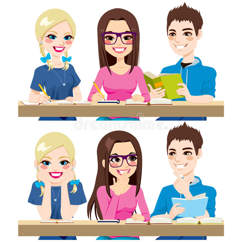 Students Studying. Together working writing notes reading and talking together stock illustration