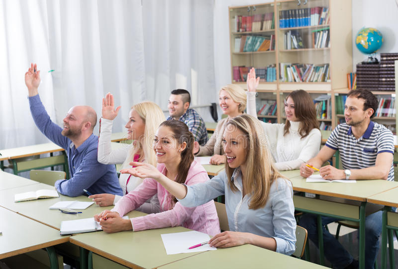 Students taking active part in discussion royalty free stock photo