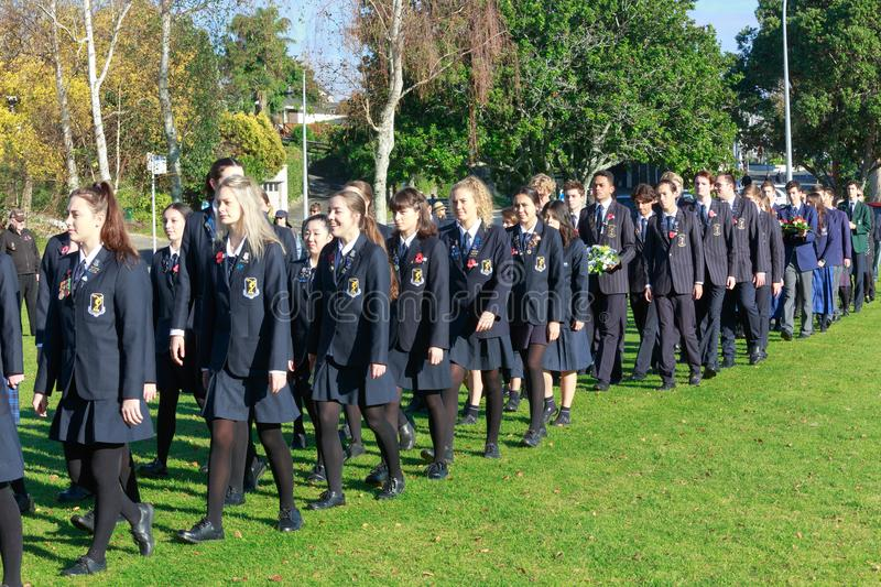 Anzac Day 2018, Tauranga NZ: Members of Tauranga Girls` and Boys` Colleges royalty free stock image