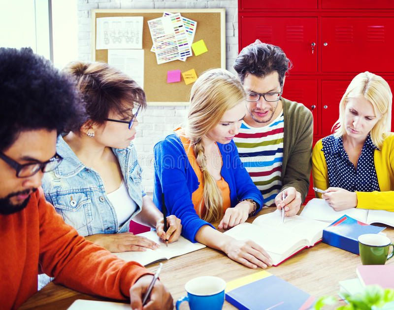 Students Team Teamwork Start up Ideas Concept.  royalty free stock photography