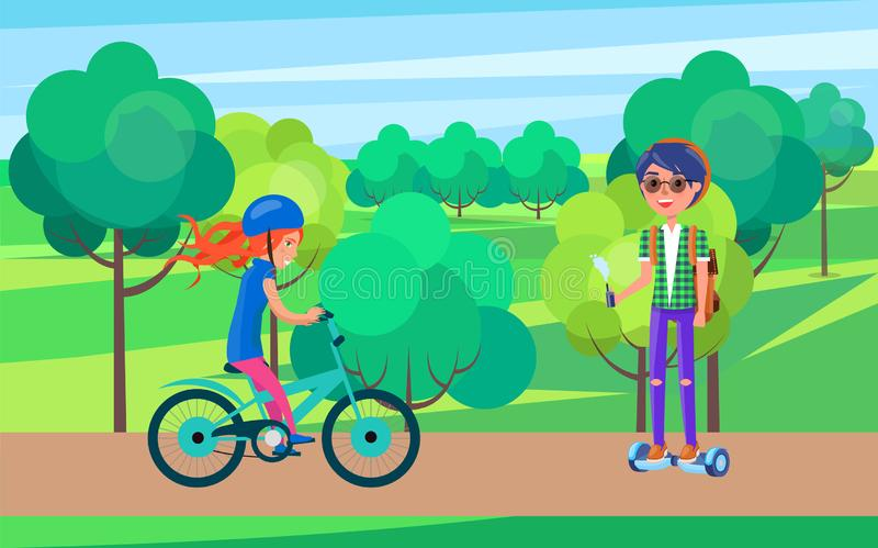 Students Teenagers on Bike and Hoverboard Vector vector illustration