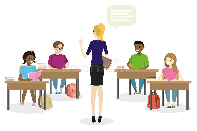 Students teens sitting in the workplace front view, and female t vector illustration