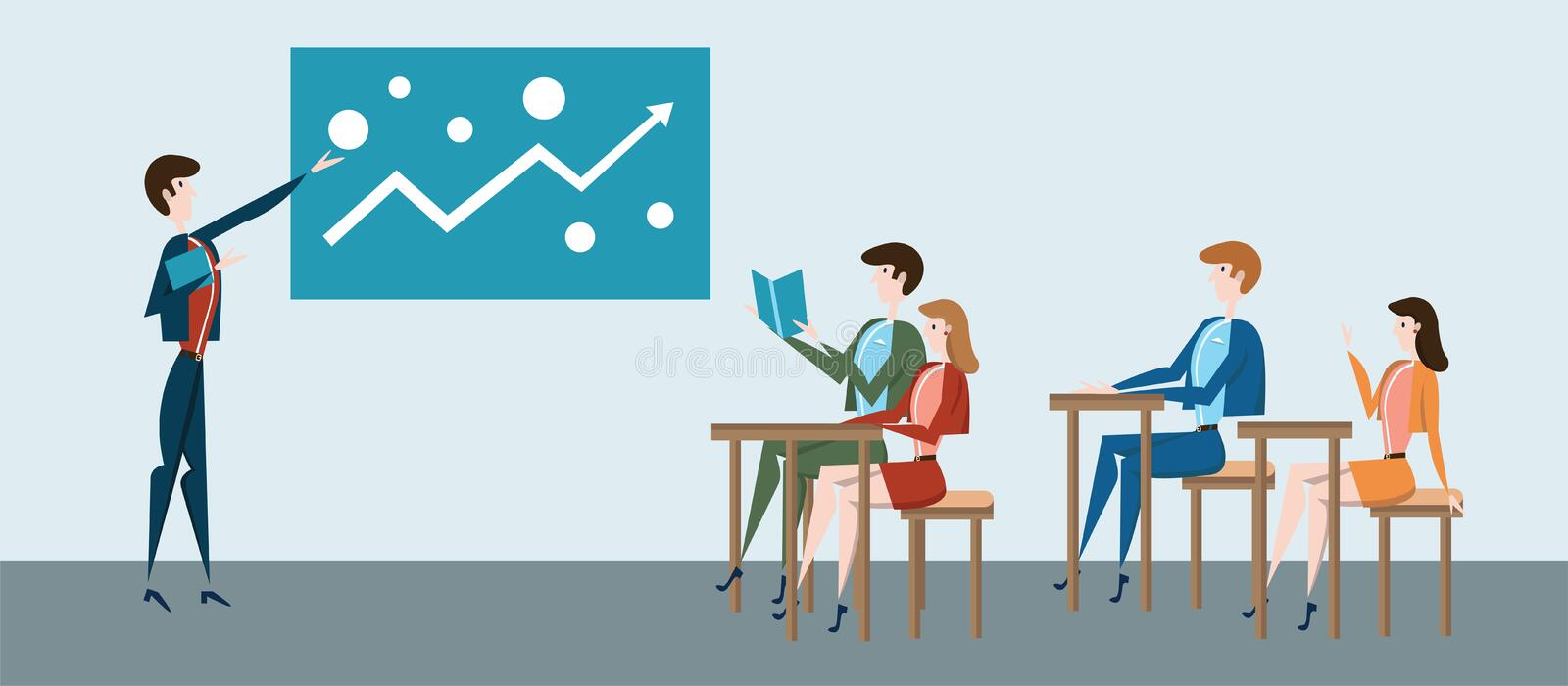 Students at their desks and teacher at blackboard or business presentation at office. Vector illustration. Students at their desks and teacher at the blackboard royalty free illustration