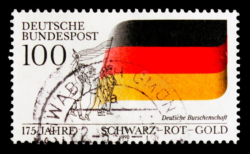 Students union, 175th Anniversary of German Students` Fraternity serie, circa 1990. MOSCOW, RUSSIA - OCTOBER 3, 2017: A stamp printed in Germany Federal Republic stock image