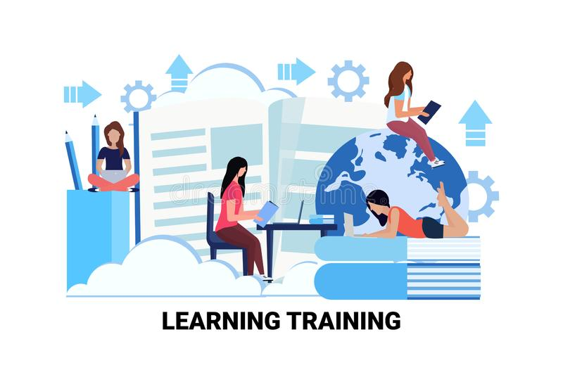 Students using gadgets online global education e-learning training concept people studying workplace classroom male vector illustration
