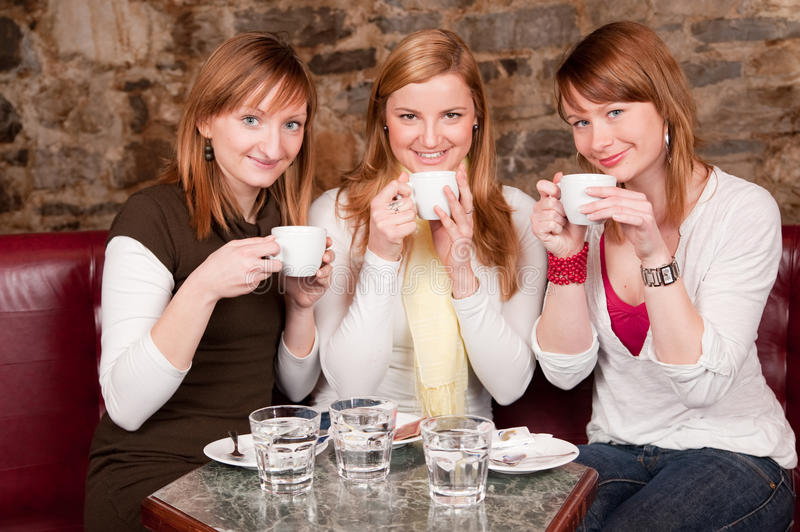 Students waiting drinking coffee and havi stock images