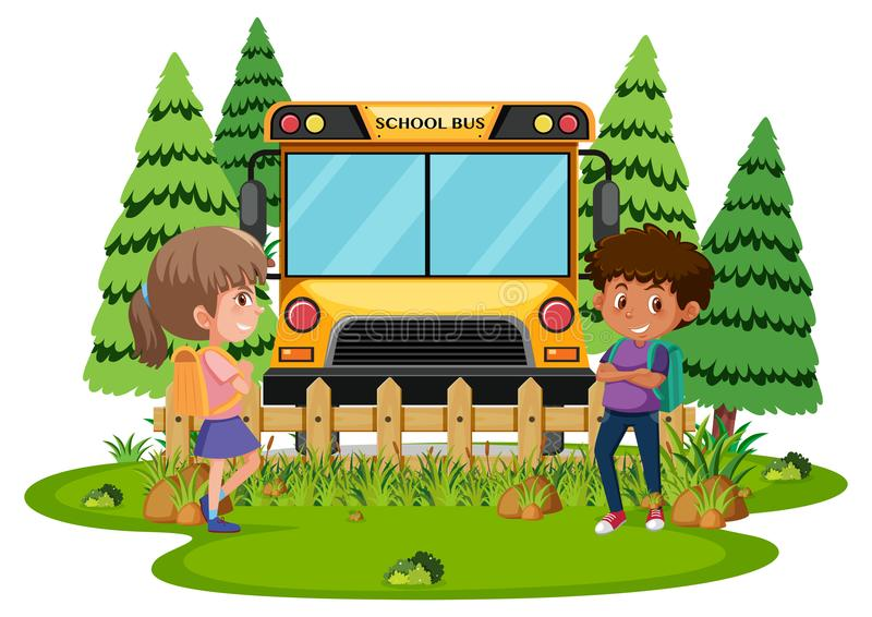 Students waiting for school bus stock illustration
