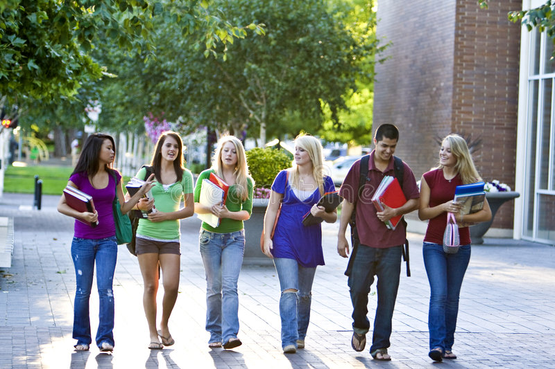 Students Walking royalty free stock photos