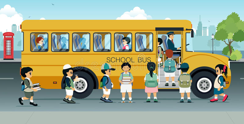 Students are walking on the bus. Parked on the street stock illustration
