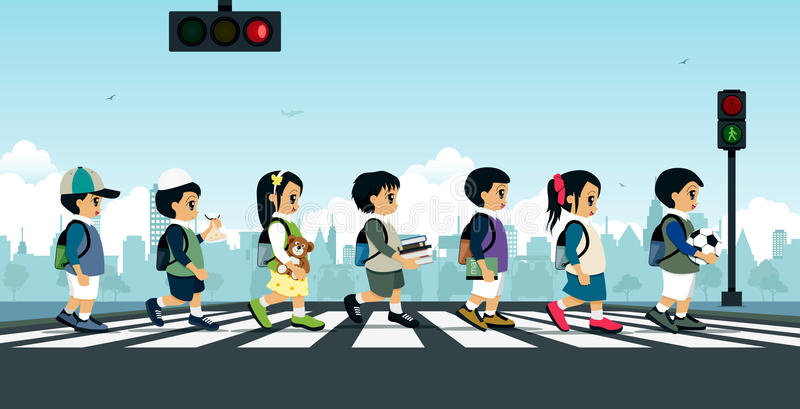 Students walking on a crosswalk. With a traffic light royalty free illustration