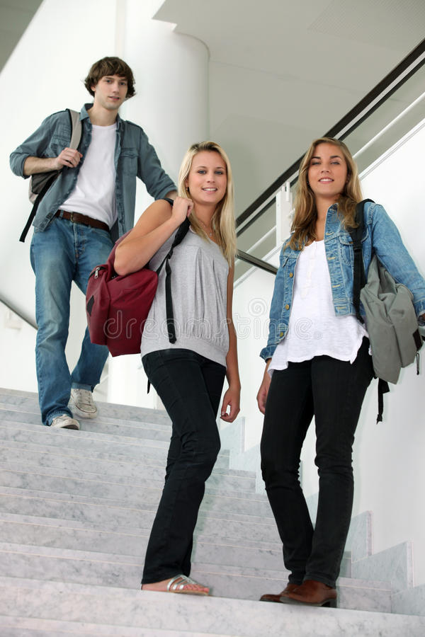 Students Walking Down Stairs Royalty Free Stock Photo