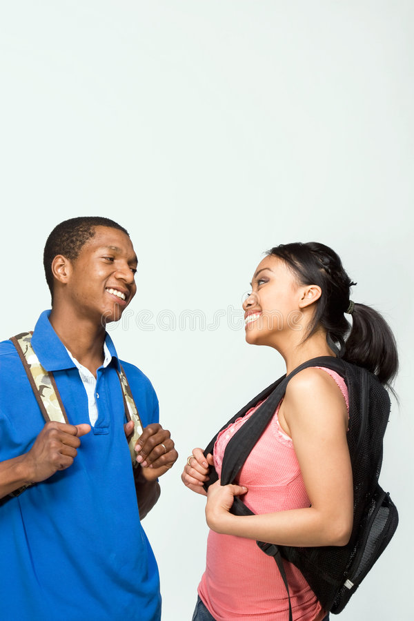 Students Wearing Backpacks - Vertical royalty free stock photography