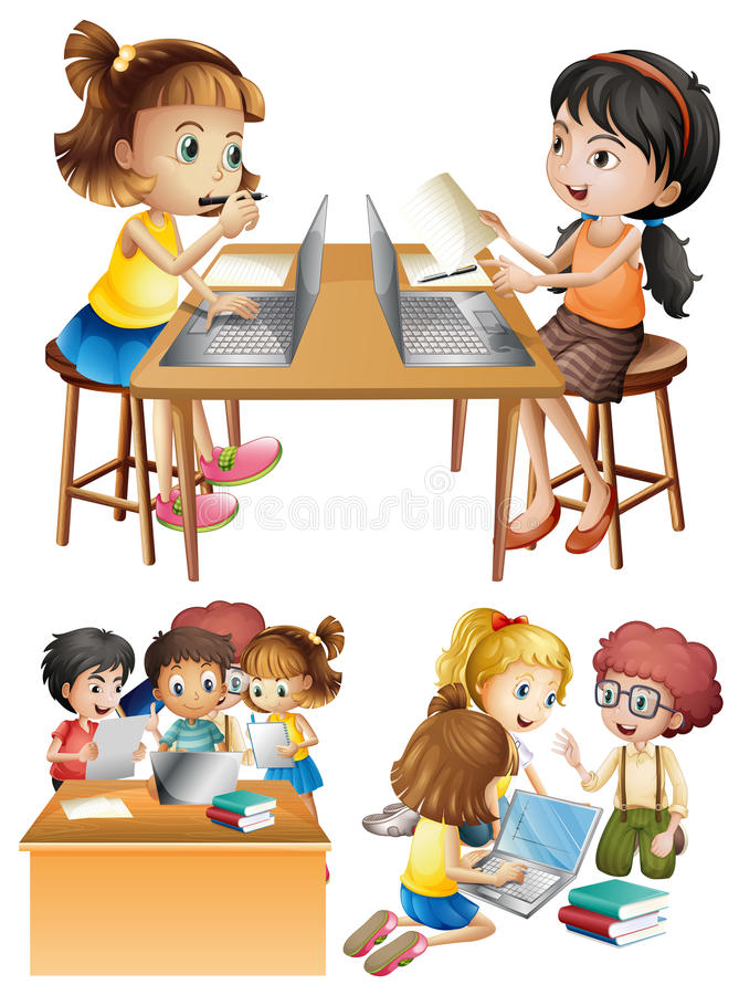 Students working on computer. Illustration royalty free illustration