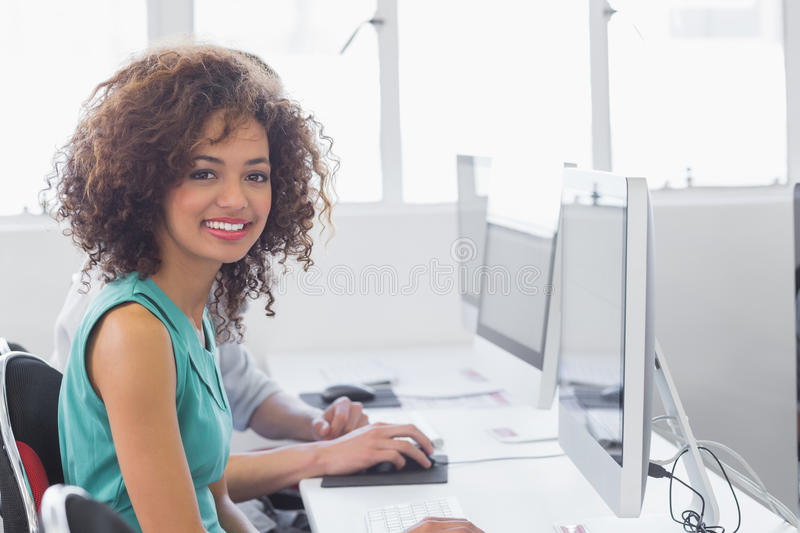 Students working in computer room stock photography
