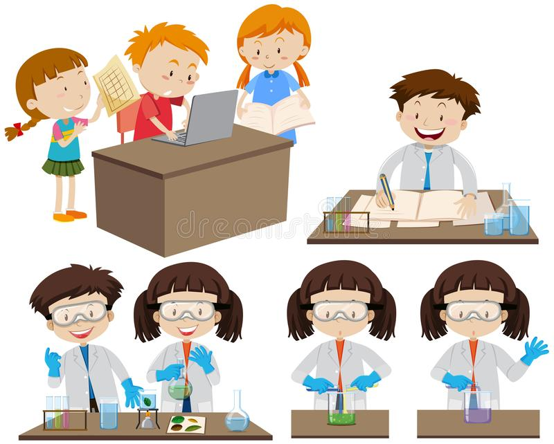 Students working in lab and on computer stock illustration