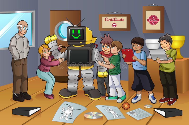 Students Working on Robot Experiment vector illustration