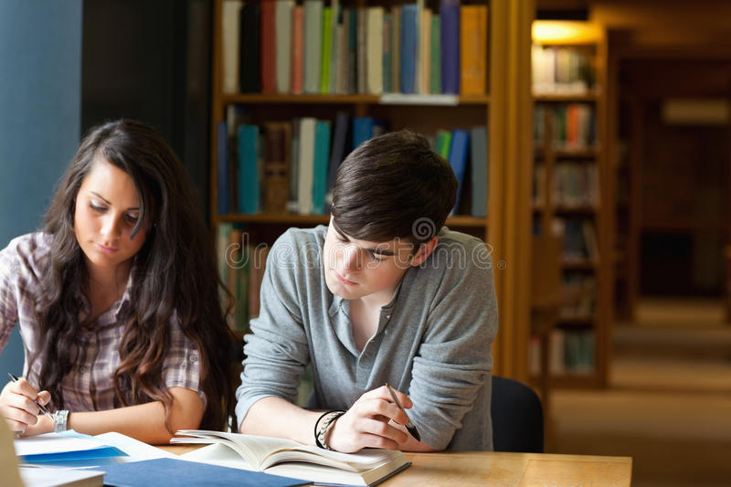 Students writing an essay. In a library royalty free stock images