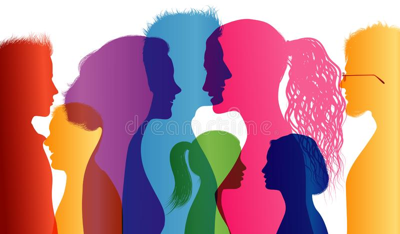 Students. Young people. Students talking. Colored silhouette profiles. Young people talking. Multiple exposure stock illustration