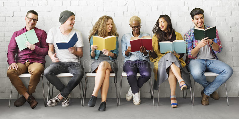 Students Youth Adult Reading Education Knowledge Concept stock photography