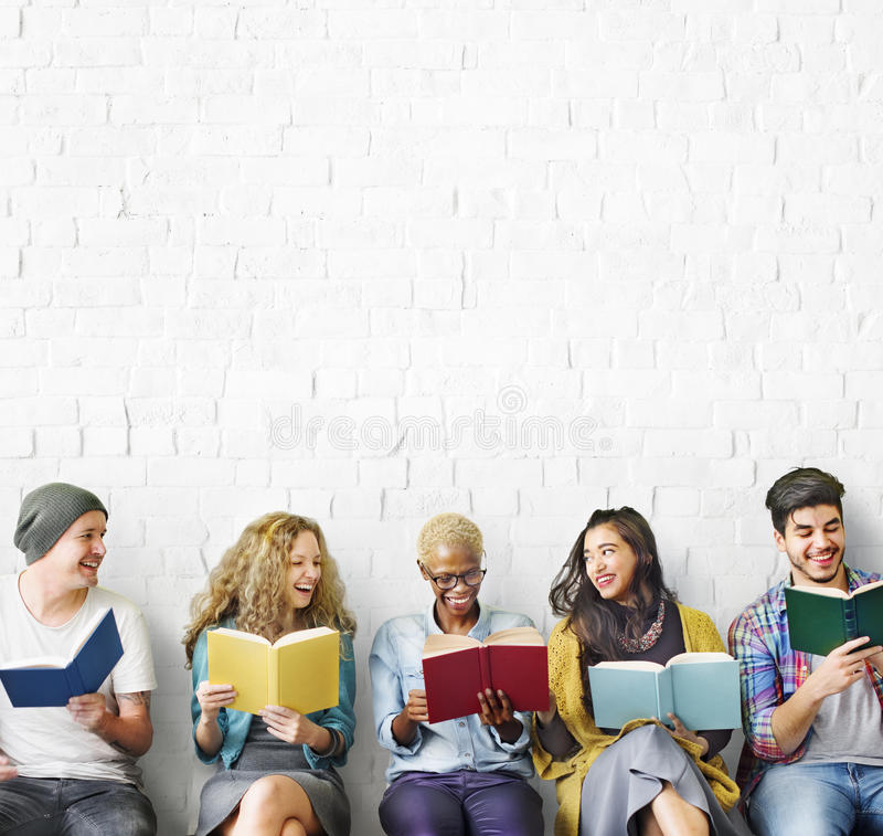 Students Youth Adult Reading Education Knowledge Concept.  royalty free stock image