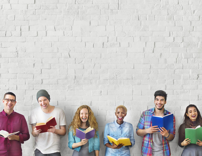 Students Youth Adult Reading Education Knowledge Concept.  royalty free stock photos
