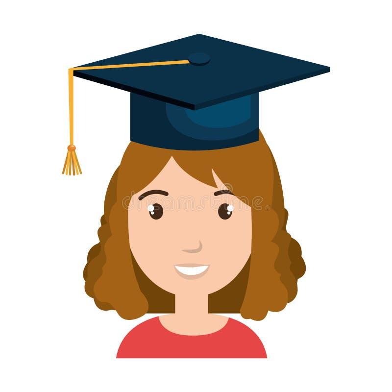 Studenttecken med hattavläggande av examen vektor illustrationer