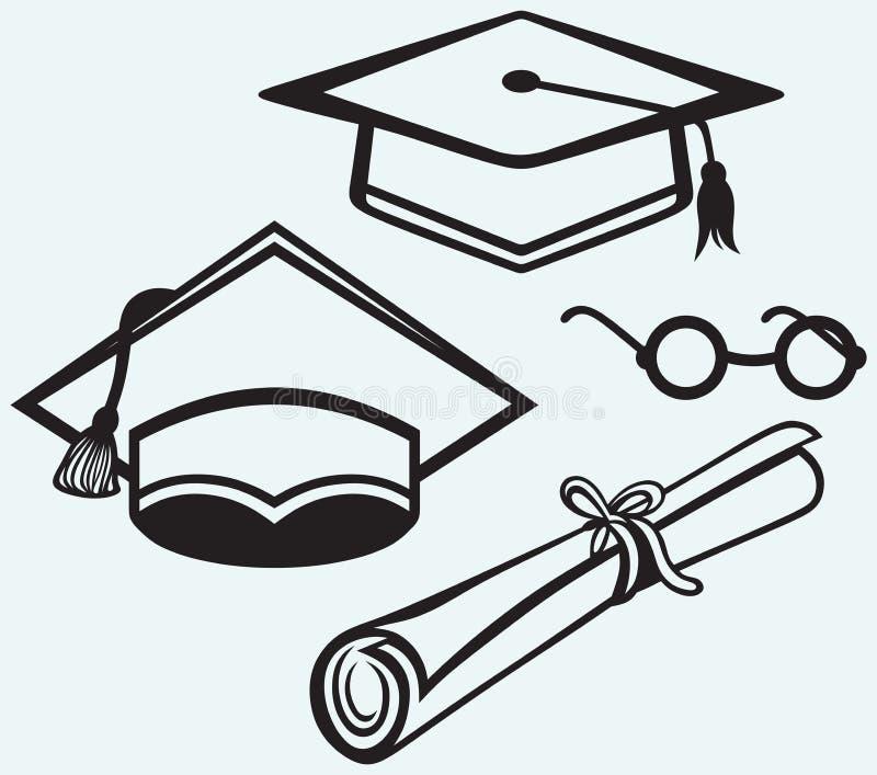 Studenttillbehör. Avläggande av examenlock, punkter och diplom royaltyfri illustrationer