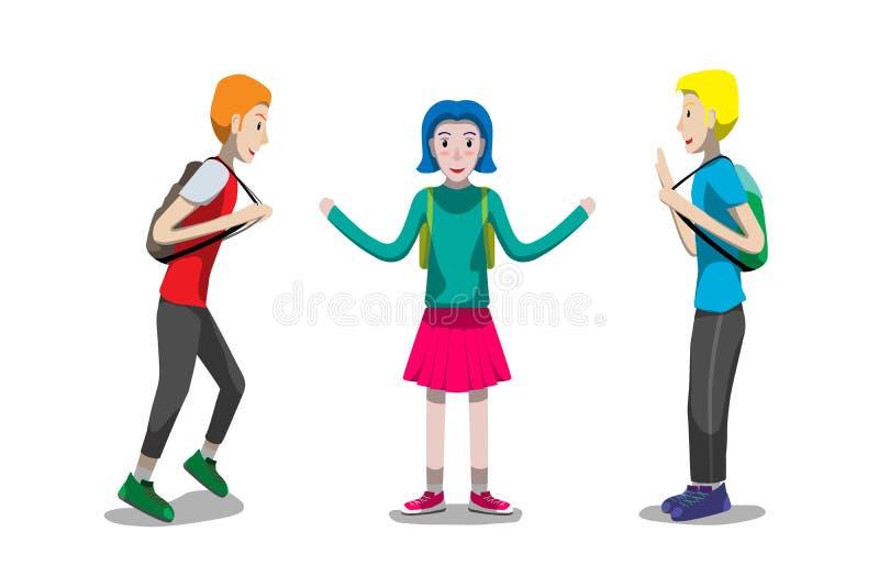 Studentungepojke och flicka som går till skolan, hälsningen och den lyckliga designen för framsidavektortecken royaltyfri fotografi