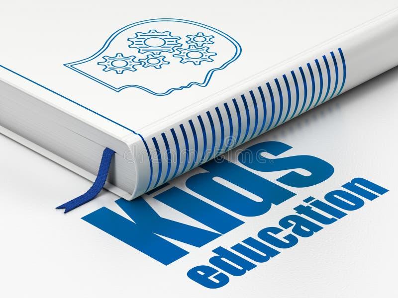 Studera begrepp: boka huvudet med kugghjul, ungeutbildning på vit bakgrund royaltyfri illustrationer