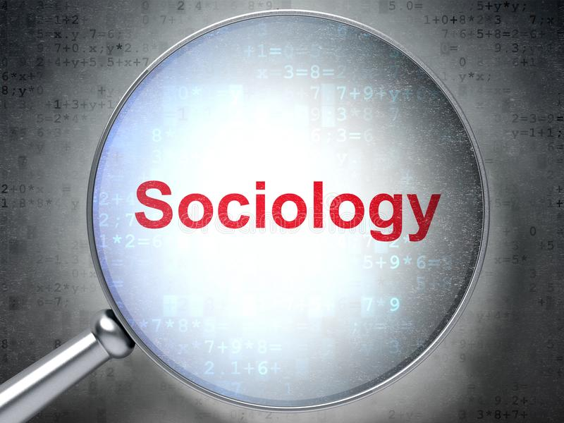 Studera begrepp: Sociologi med optiskt exponeringsglas royaltyfria foton