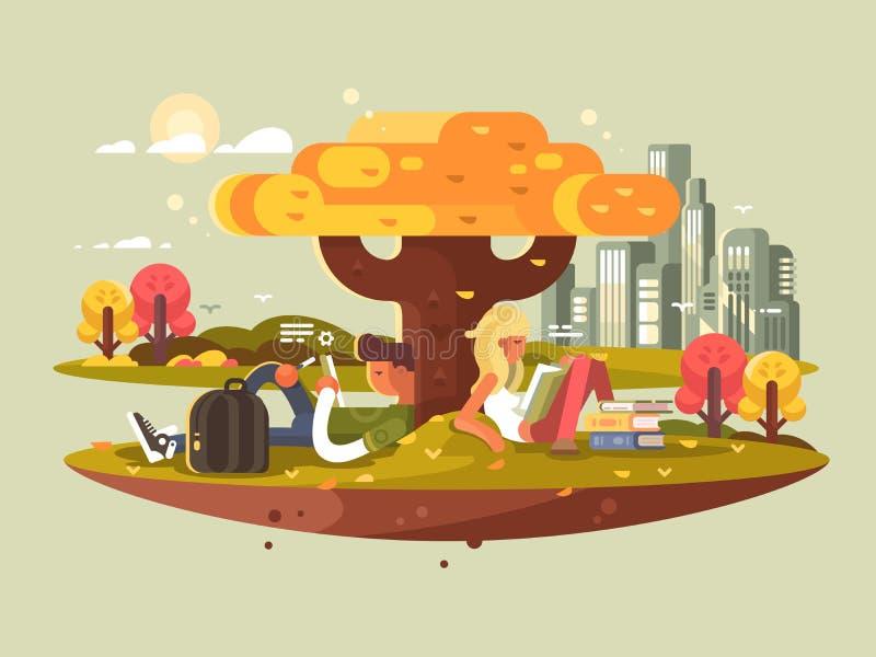 studera för parkdeltagare royaltyfri illustrationer