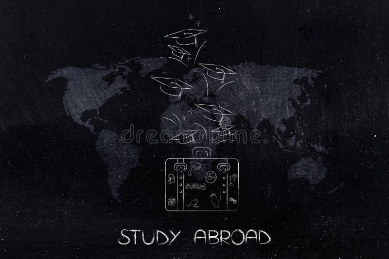 Studera utomlands bagage med avläggande av examenhattar som flyger ut över världen royaltyfri illustrationer